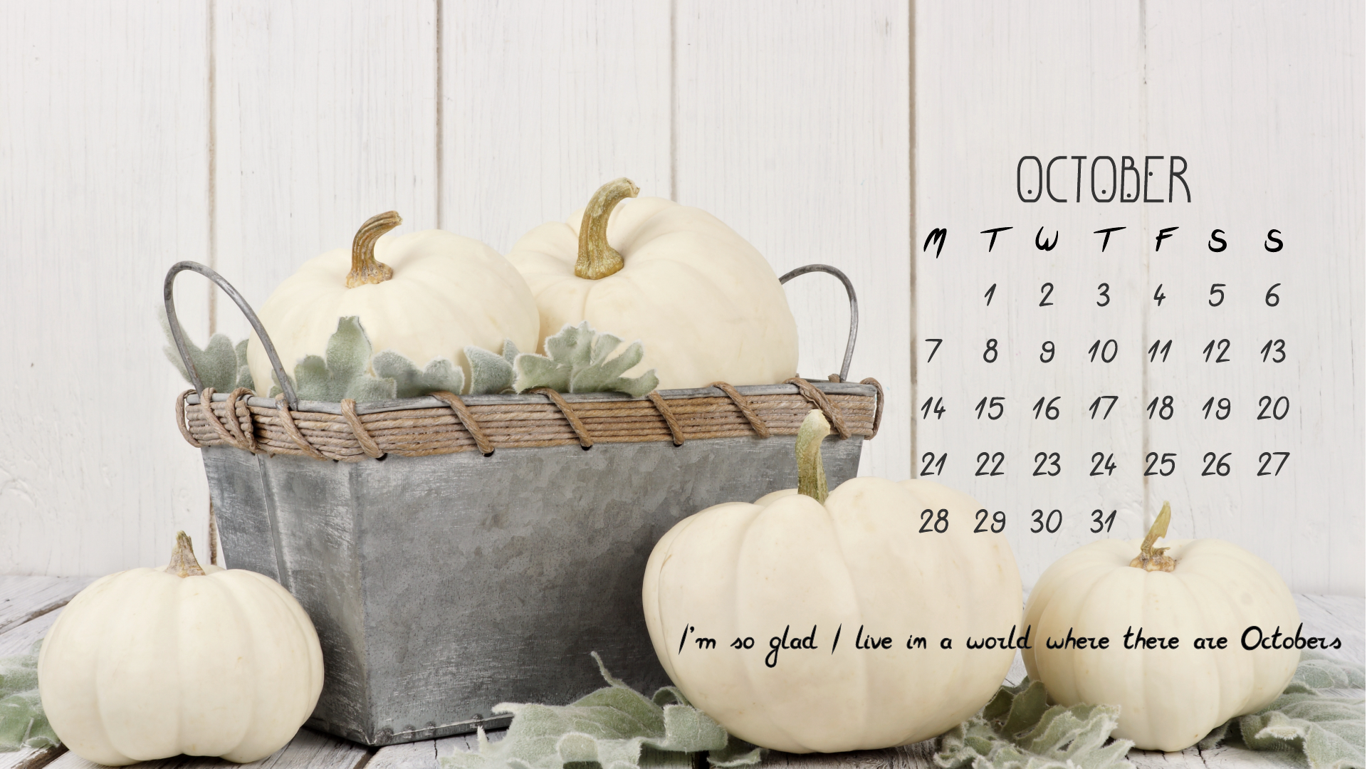 Neutral Desktop Calendar October